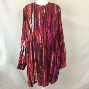 Calvin Klein | Red Print Tunic with Roll Sleeve 0X